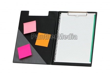 open binder with sticky notes isolated