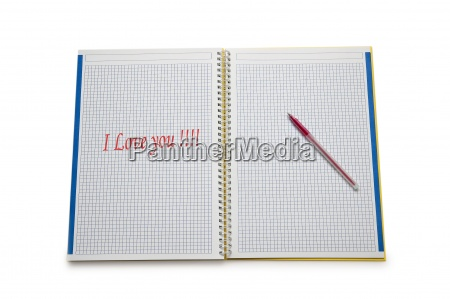 open binder with i love you