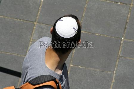 man wearing jewish kippa jerusalem israel