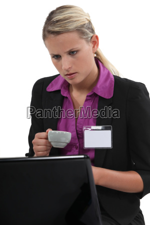 woman at a laptop with a