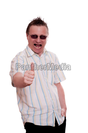 enthusiastic man holds up thumb