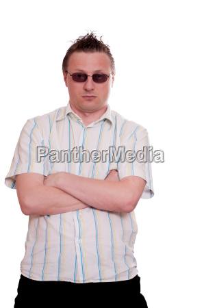 man with sunglasses looks with rejection