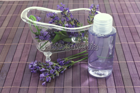 lavender oil with bath flowers and