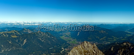 panoramic view zugspitze german austrian boarder