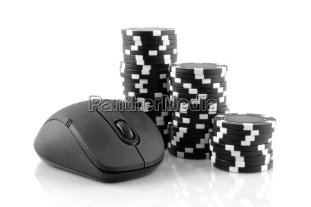 mouse and black casino chips on