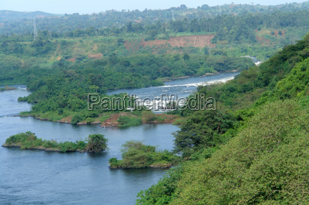 aerial view around bujagali falls in