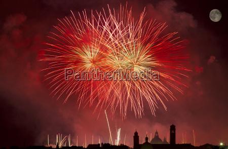 firework celebration redentore venice italy