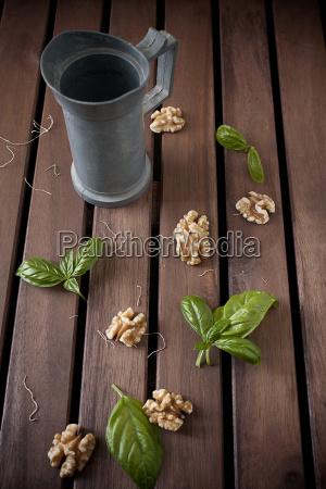 carafe and walnuts