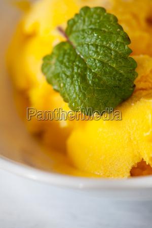 mango ice cream with lemon balm