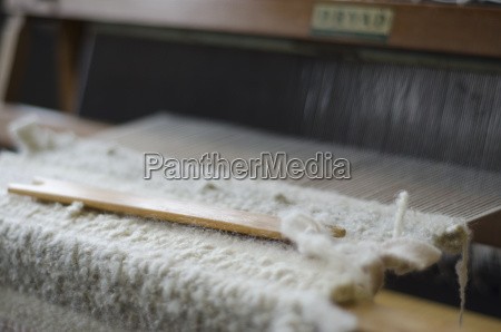 hand loom with white weave