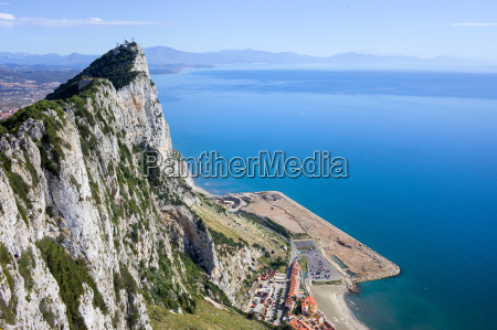 gibraltar rock by the mediterranean sea