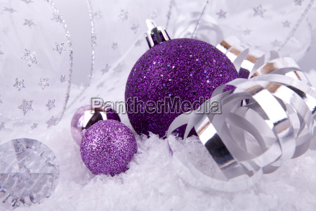 christmas ball in pink with silver