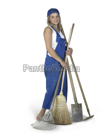 cute girl dressed in workwear with