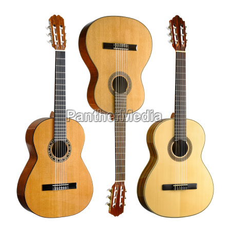 three classical guitars in a set