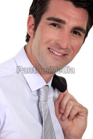 closeup of a smiling businessman