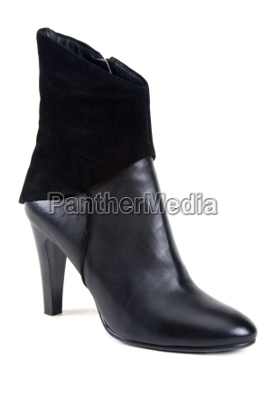 black leather feminine shoe
