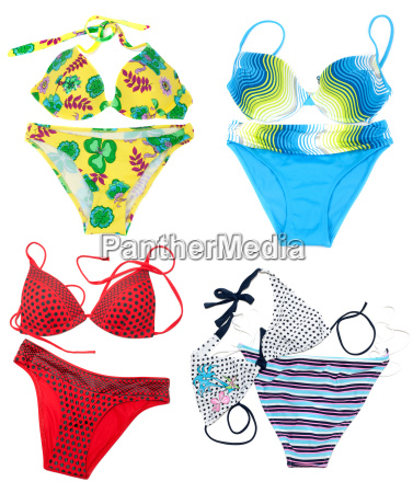 collage from feminine varicoloured swimsuit on