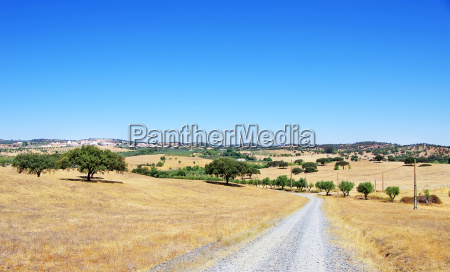 rural landscape of alentejo village portugal