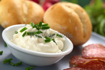 fresh cream cheese with chives