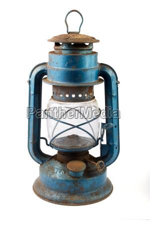 old blue rusty lantern
