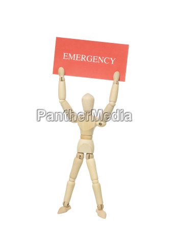 doll with emergency sign