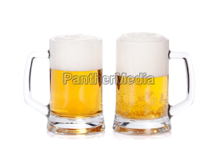 two beer mugs isolated on a