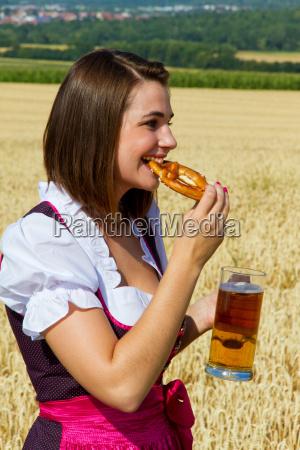 snack with beer and pretzel