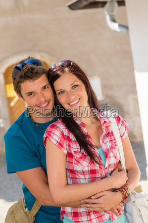 happy love couple embracing smiling in