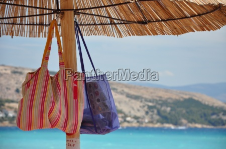 parasol with bags