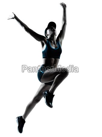 woman runner jogger jumping
