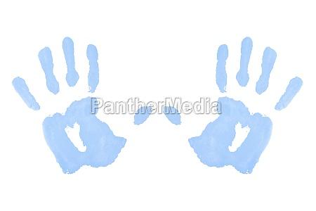 two blue symmetric handprints against a