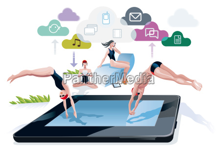 diving into a pool tablet