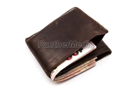 brown wallet with hk dollars