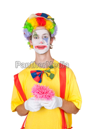clown with pink flower