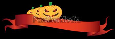 ribbon with halloween pumpkins