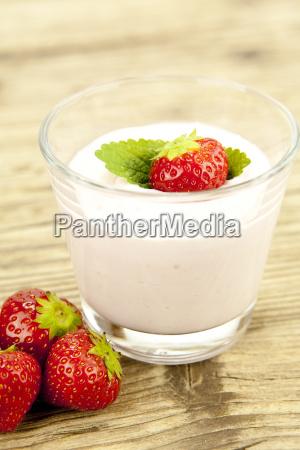fresh strawberry yogurt shake with strawberries