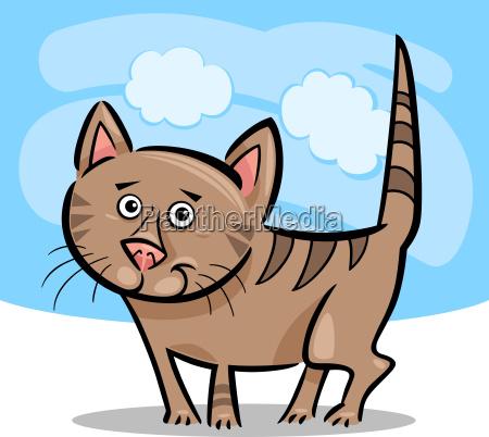 cartoon illustration of cat or kitten