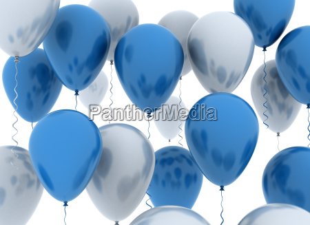 blue and white balllons
