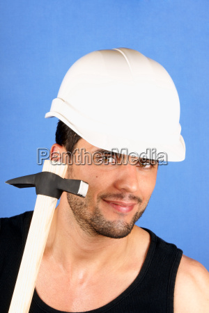 handsome worker with hard hat and