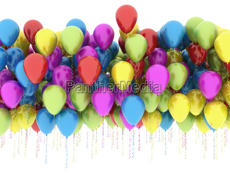 mulri color balloons isolated on white