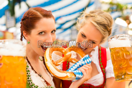 young women in traditional dirndl in