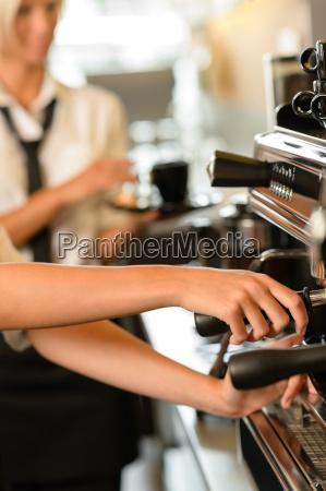 close up hands waitress make coffee