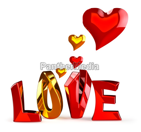metalic word love with hearts