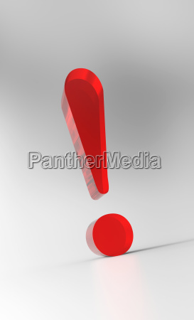 big exclamation mark red glass