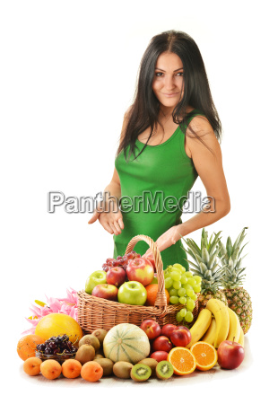 woman with variety of fruits in