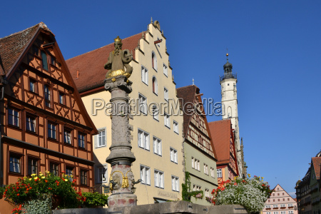 city town fountain gable middle ages