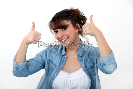casual woman with both thumbs up