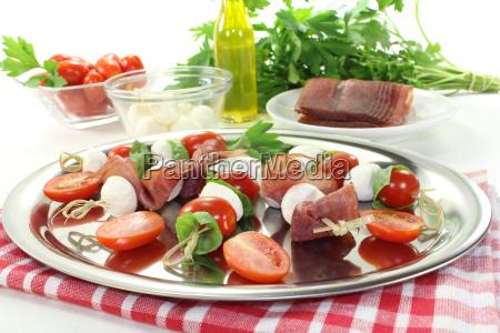 fresh tomato mozzarella prosciutto skewers