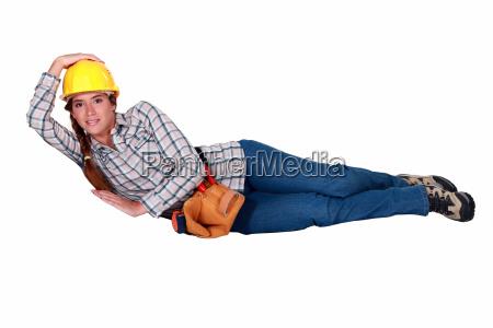 female mason laying down