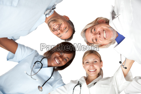 multi racial group or happy doctors